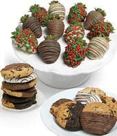 Chocolate Covered Christmas Strawberries and Cookies