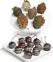 Holiday Chocolate Covered Strawberries & Cherries - 18 Pieces