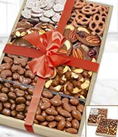 Large Milk Belgian Chocolate Covered Nut & Snack Gift Tray Set