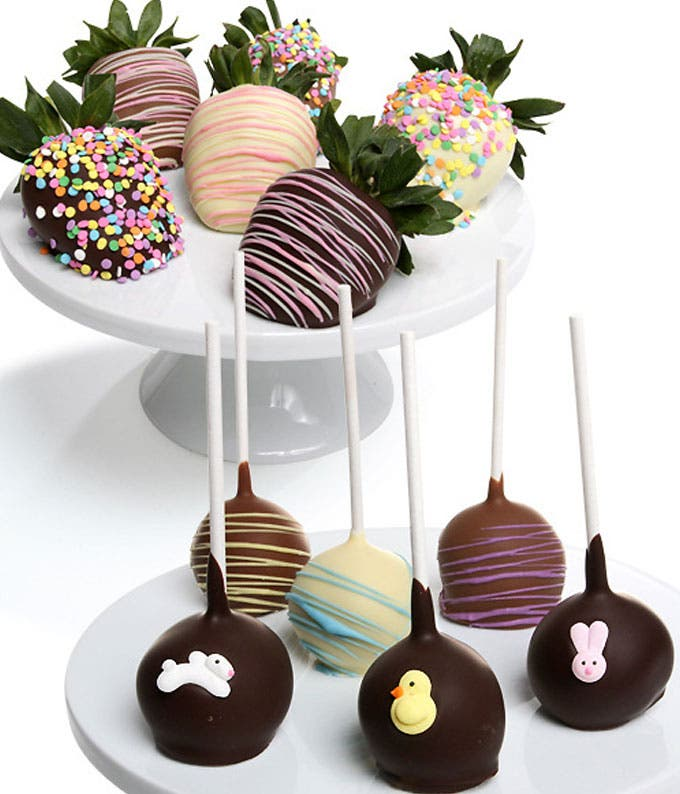 Spring Chocolate Covered Strawberries and Cake Pops