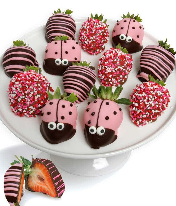 Ladybug Chocolate Covered Strawberries- 12 Piece