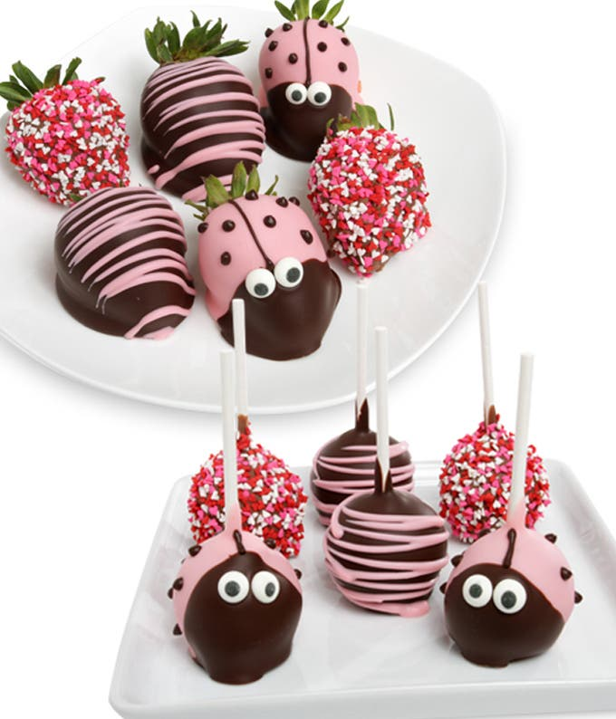 Ladybug Cake Pops and Chocolate Covered Strawberries