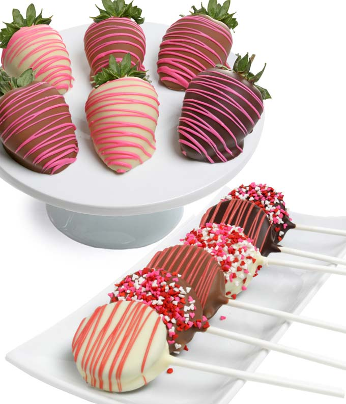 Valentine's Day Chocolate Covered Oreo Pops & Strawberries