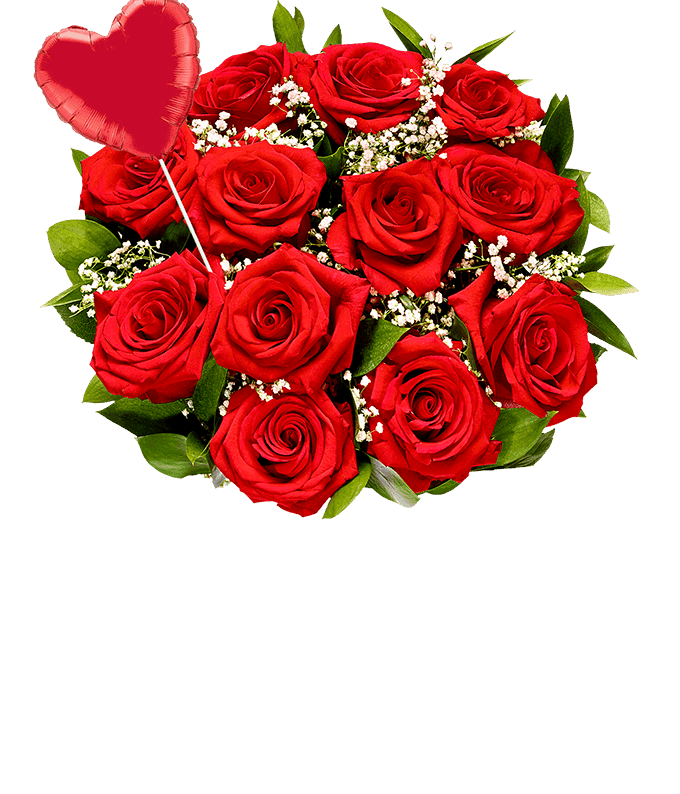 One dozen red roses with a heart balloon
