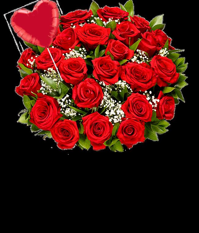 Two Dozen Red Roses + Heart Eye Emoji Balloon