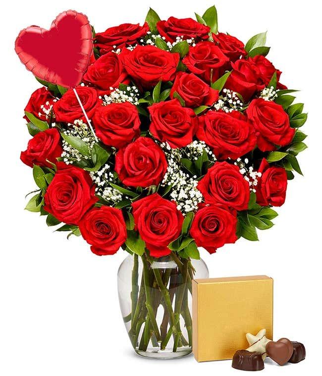 Two Dozen Red Roses + Heart Eye Emoji Balloon + Chocolate