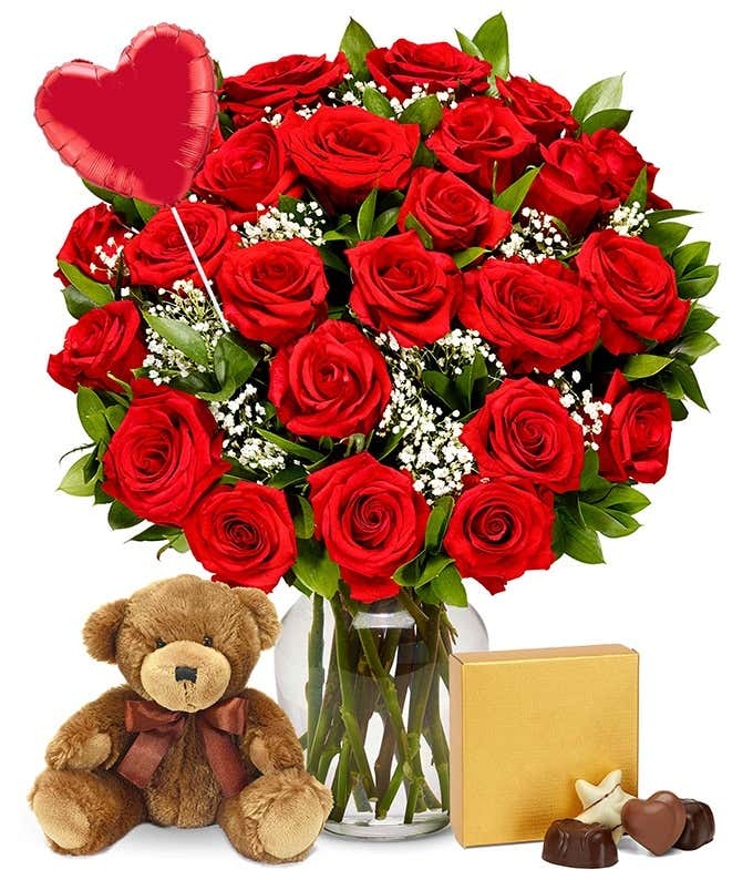 Two Dozen Red Roses + Heart Eye Emoji Balloon + Chocolate + Bear