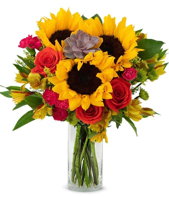 Autumn Succulent Bouquet with Sunflowers