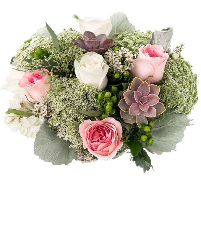 Pink rose and succulent arrangement