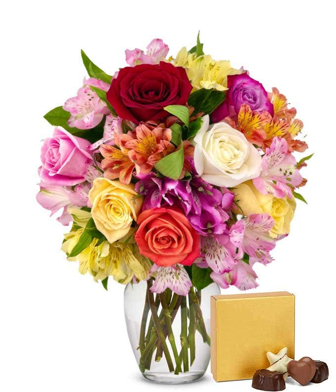 Roses & Alstros & Chocolates Bundle