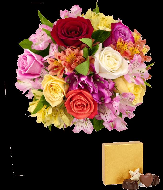 Roses & Alstros & Godiva Bundle