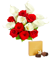 Red Rose, Calla Lily + Godiva Bundle