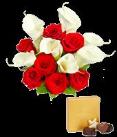 Red Rose, Calla Lily + Godiva Bundle