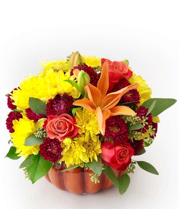 Rose and Lily Pumpkin Bouquet