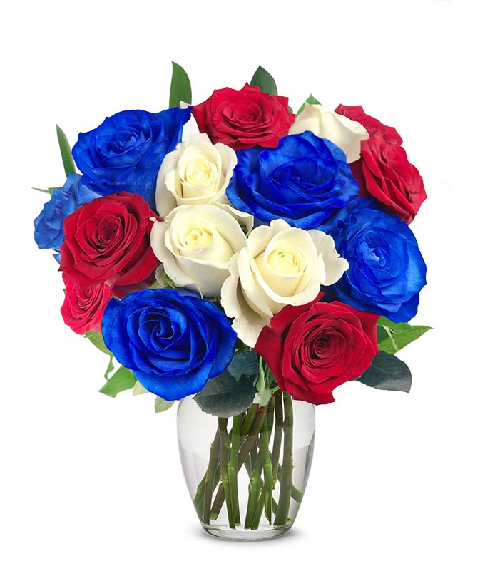 One Dozen Red White & Blue Roses