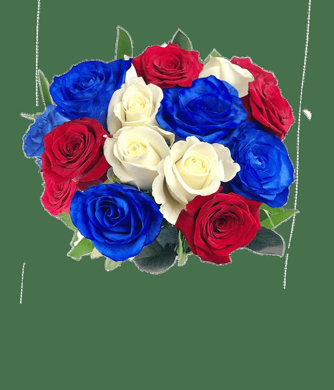 One Dozen Red White & Blue Roses