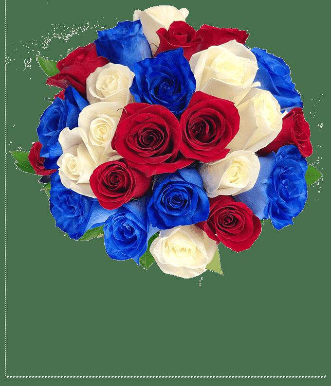 Two Dozen Red White & Blue Roses