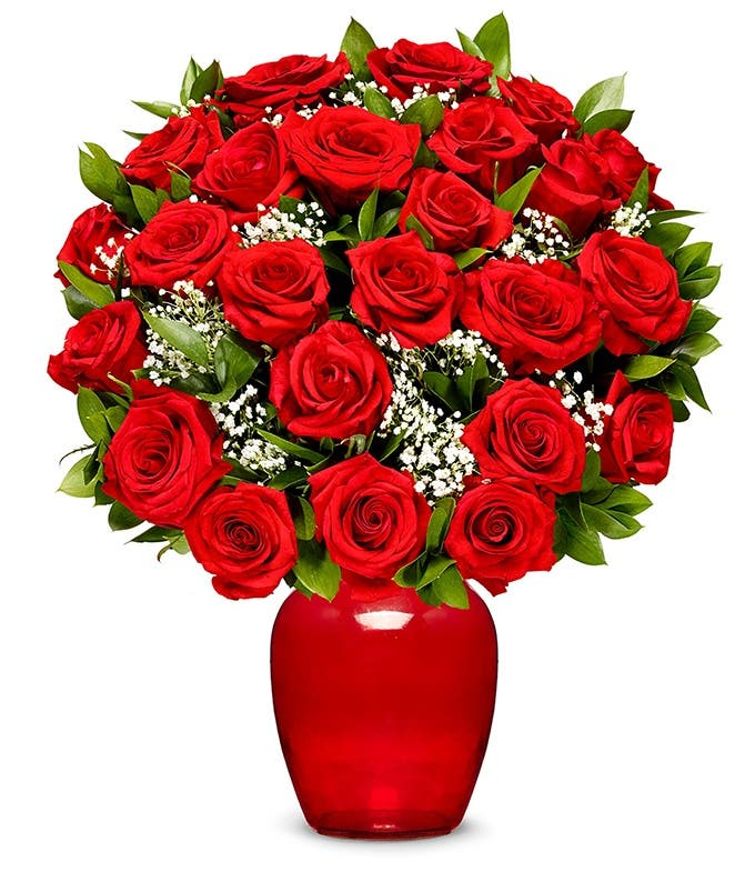 Two dozen red roses for next day delivery
