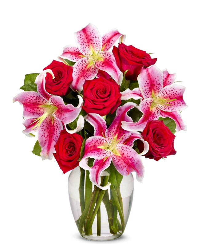 Red rose and pink stargazer lily bouquet