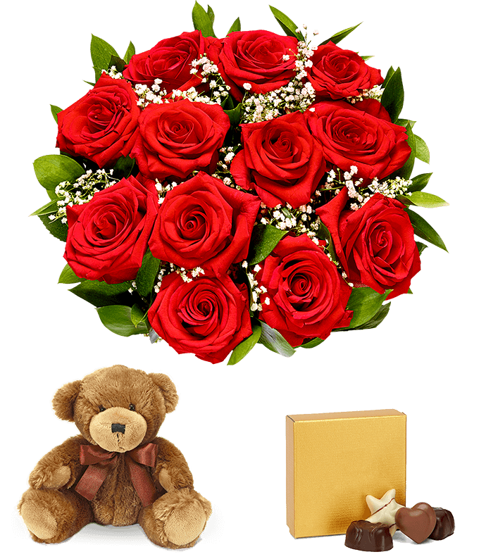 one dozen red roses delivered with valentine chocolates and teddy bear next day flower delivery - Valentine Flower Delivery
