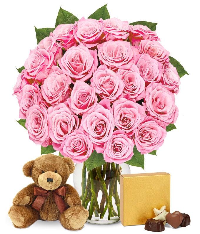Two Dozen Pink Roses...