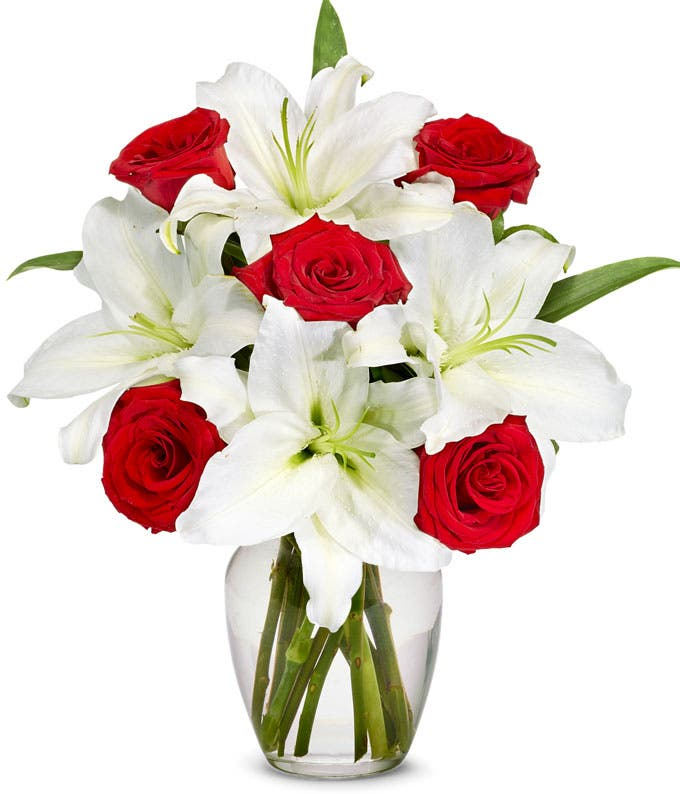 Red Rose and Shining Lily Bouquet - Premium