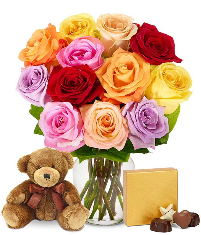 One Dozen Rainbow Roses with Godiva & Bear