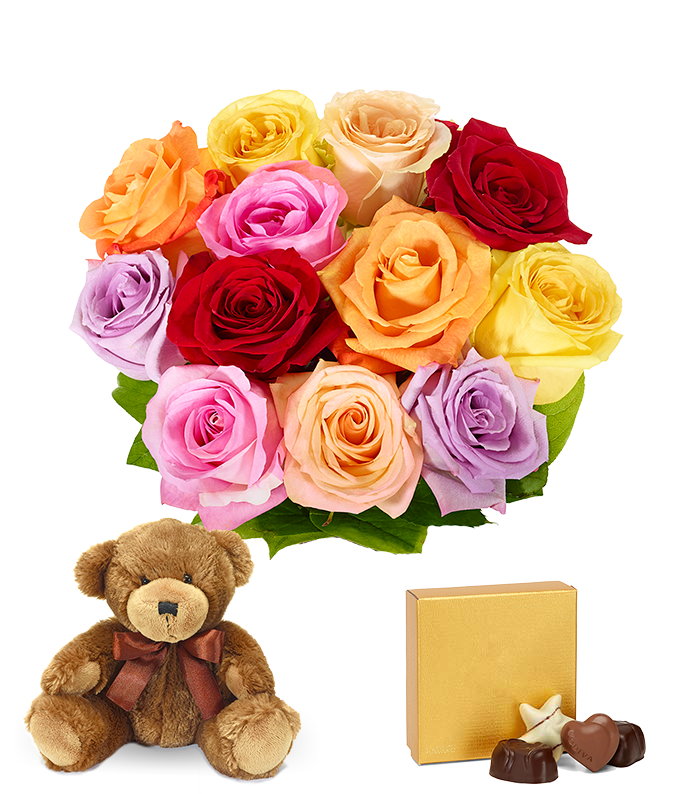 Mixed roses, teddy bear and chocolates