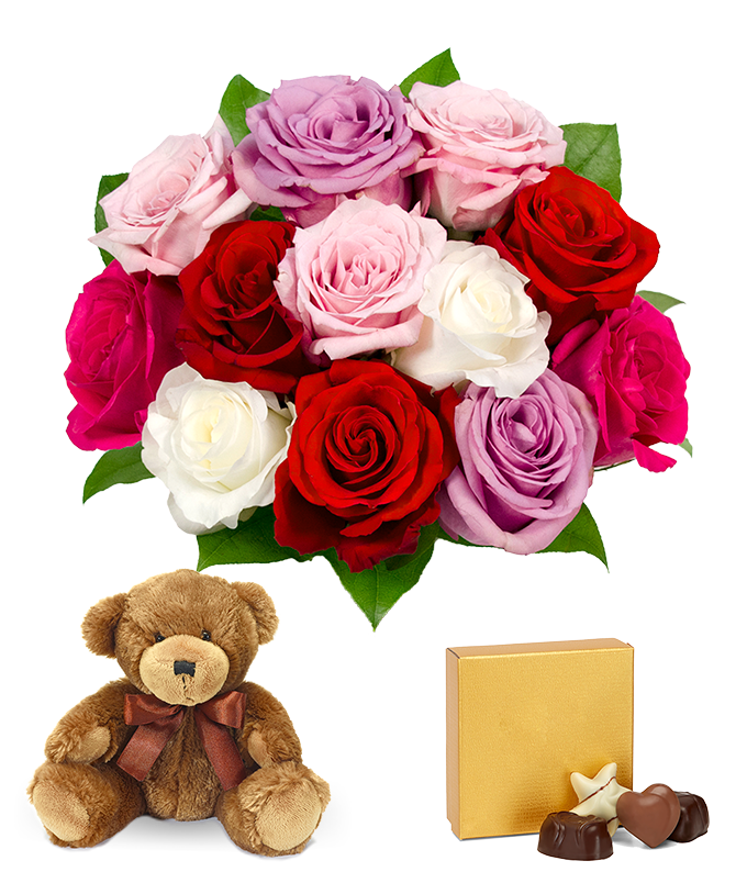 One Dozen Assorted Sweetheart Roses with Godiva & Bear