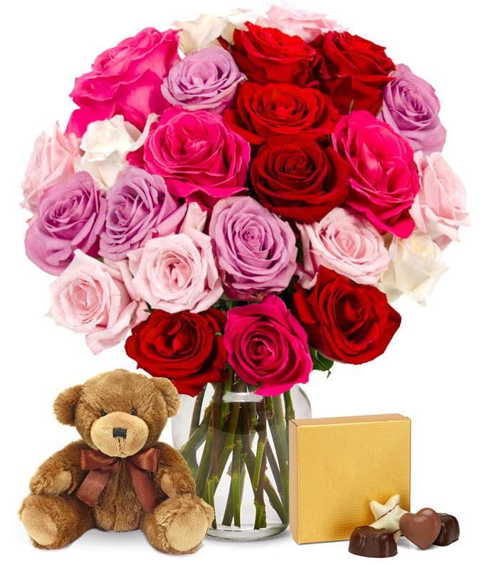 Two Dozen Assorted Sweetheart Roses with Godiva & Bear