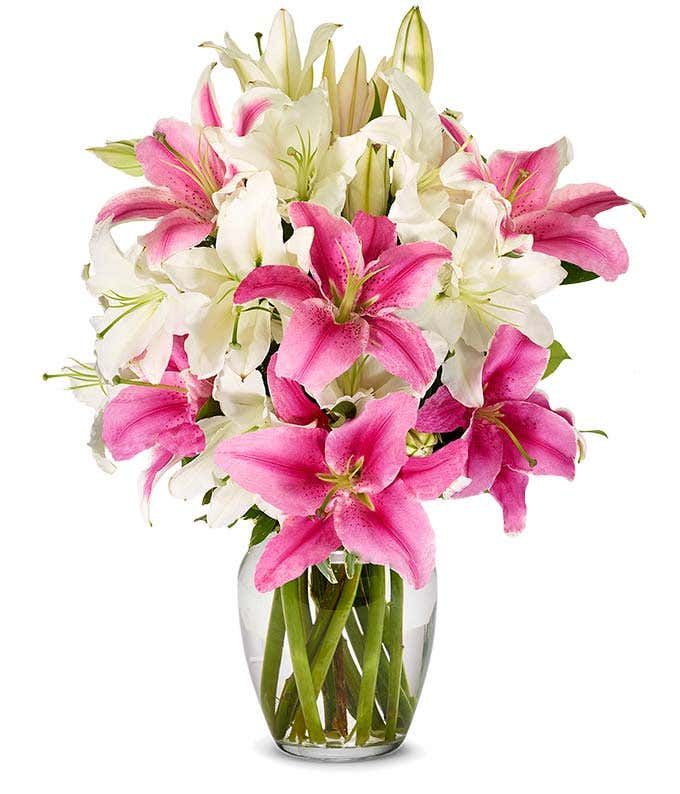 Pink and white lilies for mom