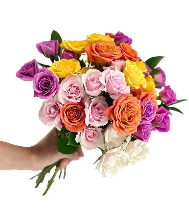 Rainbow Garden Roses - 10 Stem