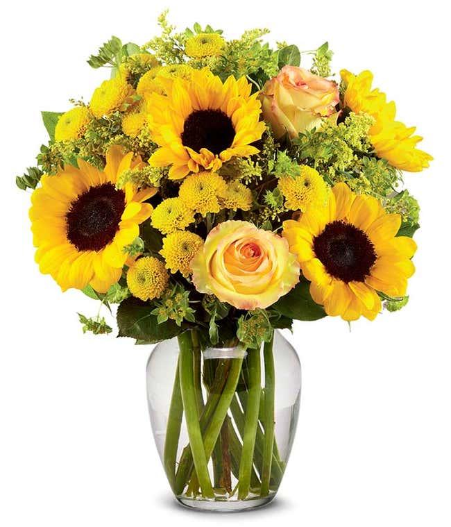 Brilliant Sunflower & Rose Bouquet