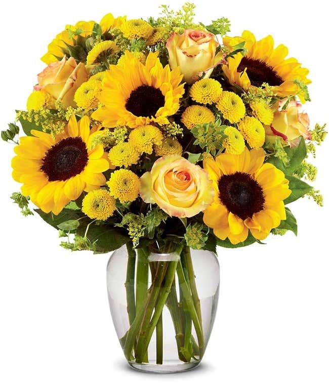 Brilliant Sunflower & Rose Bouquet - Deluxe