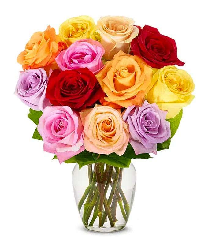 Mixed roses with Happy Birthday Vase