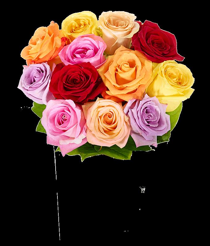 Mixed roses with Happy Birthday Vase