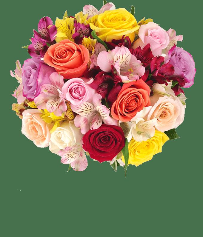Roses & Alstros Bouquet - Deluxe