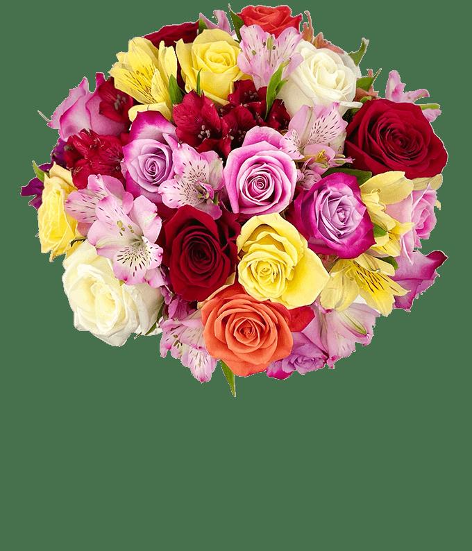 Roses & Alstros Bouquet - Premium