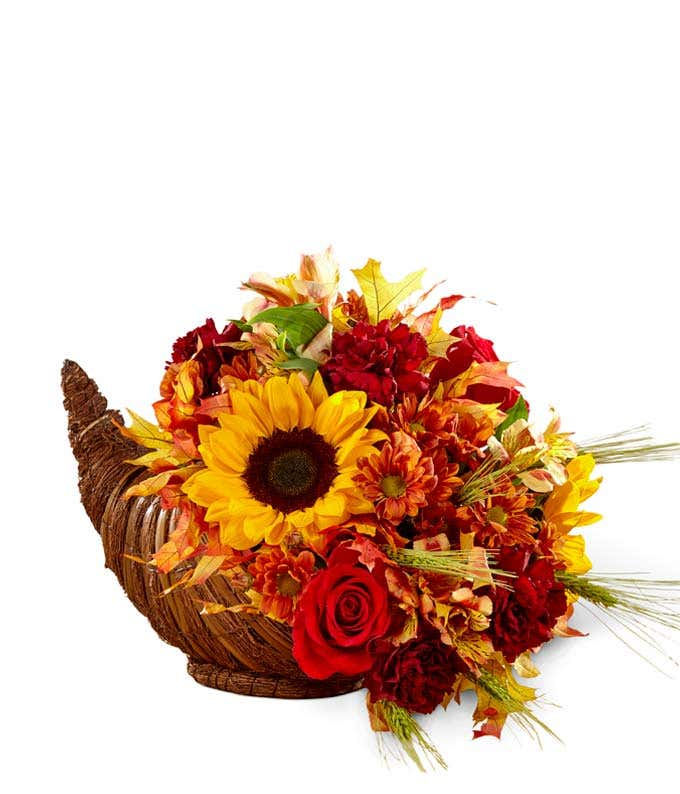 Fall Cornucopia with flowers