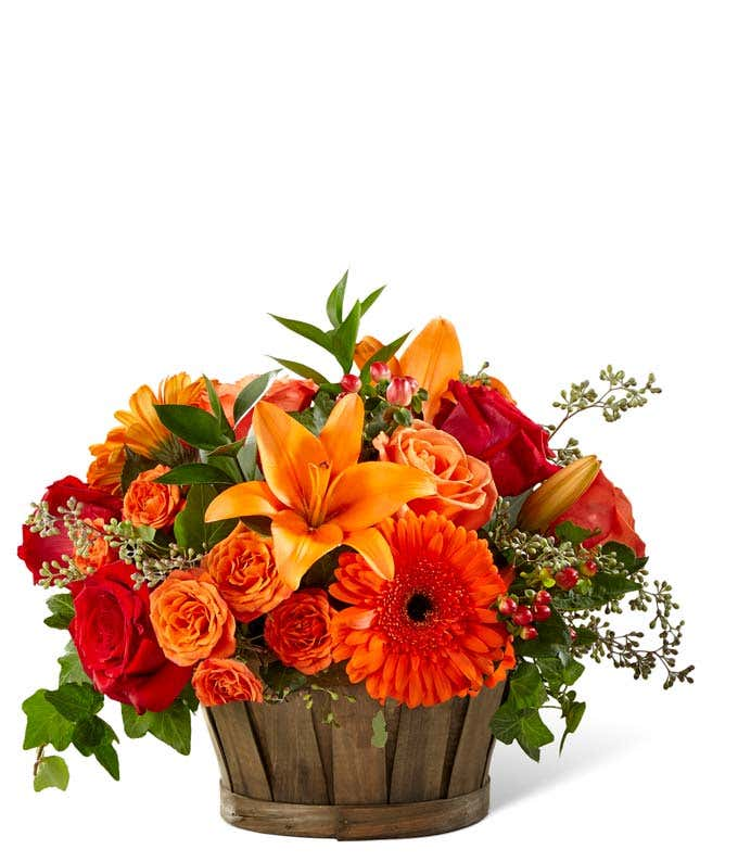 Orange Flower Fall Basket
