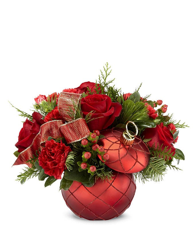 Red ornament flower arrangement