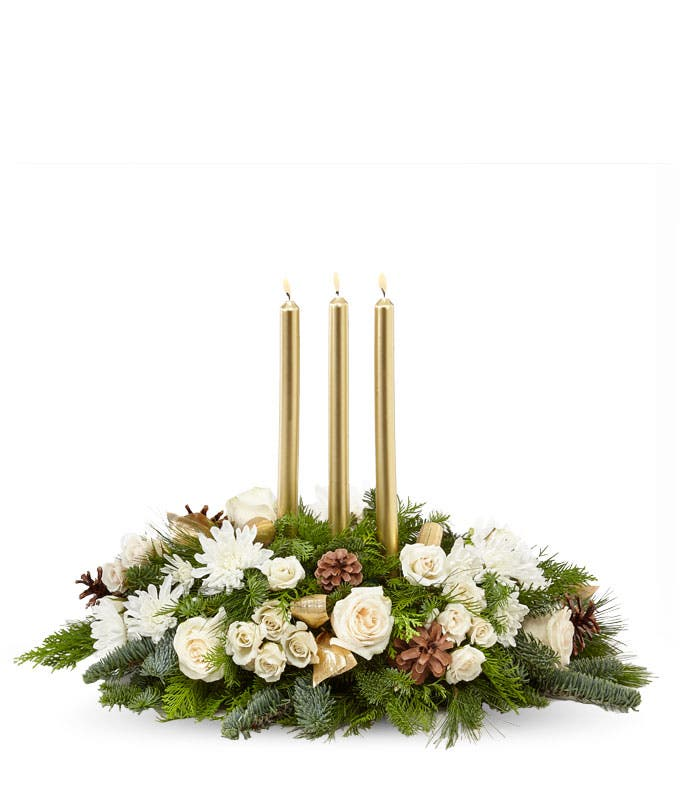 Frosty Evergreen and Rose Centerpiece
