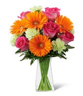Orange Gerbera Daisies, Pink roses and green poms