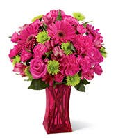 Hot pink gerbera daisies, hot pink roses and carnations