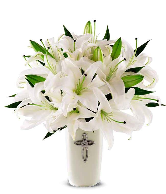 White flower bouquet with Cross decorated vase