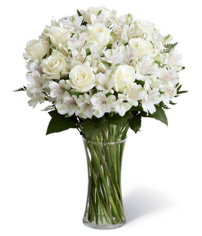 White rose and white alstroemeria bouquet