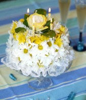 White and Yellow Birthday Cake: From You Flowers
