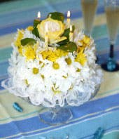 White and Yellow Birthday Cake