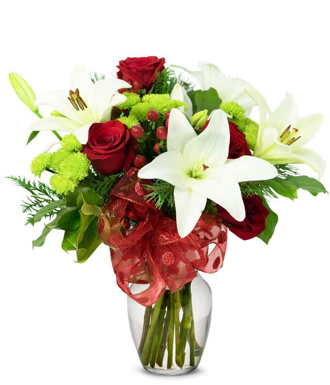 Christmas red rose and white lily arrangement