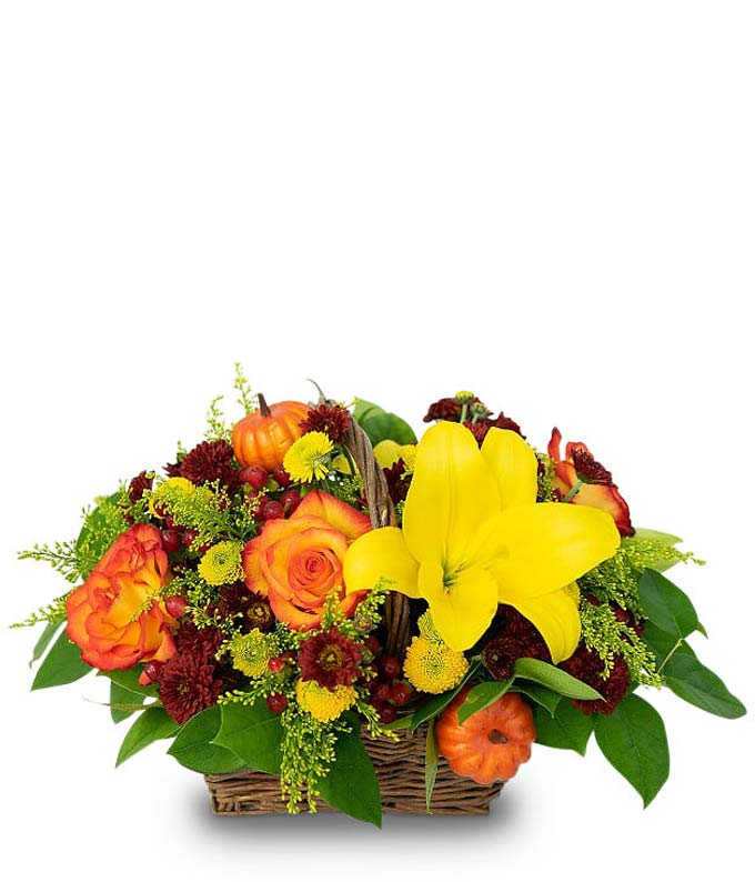 Woven basket flower centerpiece